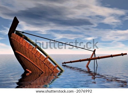 A ship sinking into the ocean. Symbolic of the concepts of failure and defeat. - stock photo