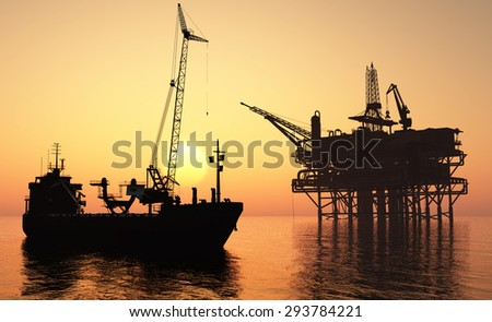 A ship with a crane  in the sea.