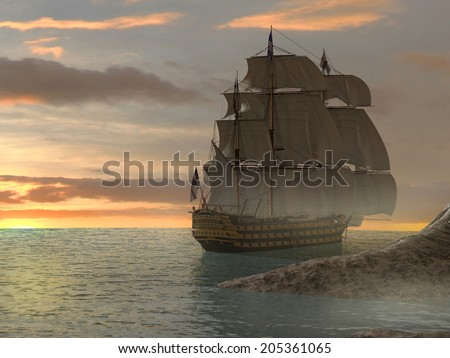 A ship with sails in the ocean at sunset with a bit of sandy land in the foreground.