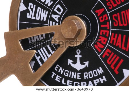 A ships telegraph on full speed ahead - stock photo
