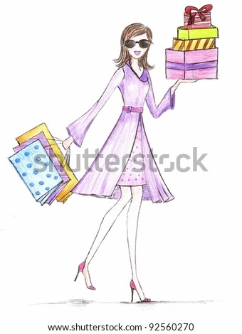 A shopaholic girl with colorful shopping bags & gifts in both hands. Wearing a red dotted patterned skinny skirt, a purple wrap coat coupled with a red waist belt and matching red high heel sandals. - stock photo