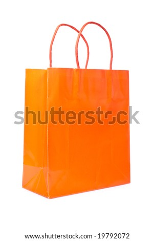 A shopping bag, isolated on white background - stock photo