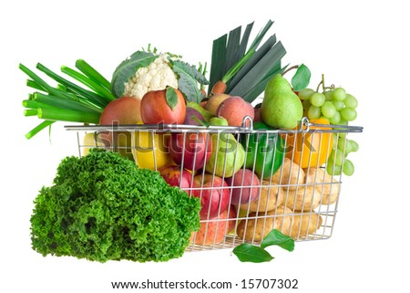 A shopping basket full of fresh produce.