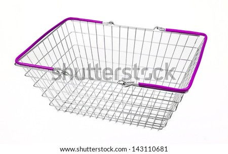 A shopping basket on a white background. - stock photo