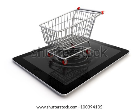 A shopping cart emerging from a tablet pc, symbol of the ability to buy from a mobile device