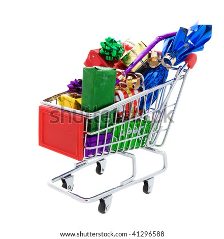a Shopping cart full of different presents on a white background
