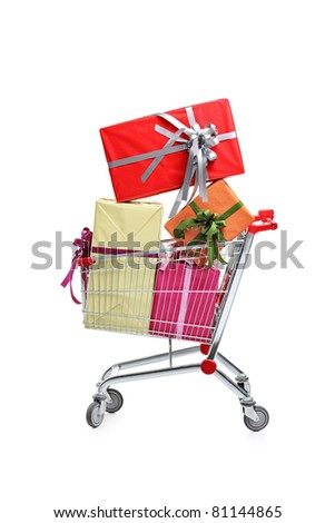 A shopping cart full with gifts isolated on white background - stock photo