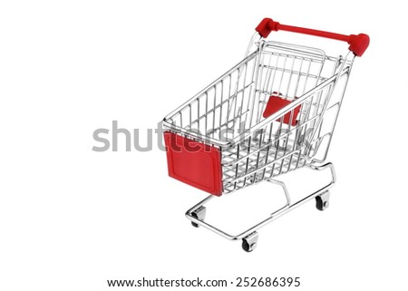 A Shopping Cart With Red Display Isolated On White Background