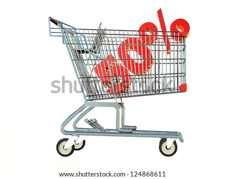 a shopping cart with the number 50% inside