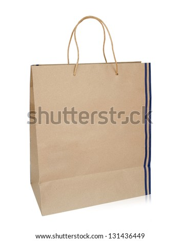A shopping paper bag with blue stripes isolated on a white background. Clipping path