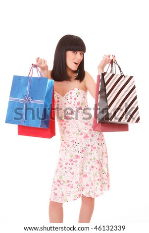 A Shopping pretty woman over white background