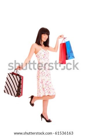 a Shopping sexy woman over white background - stock photo