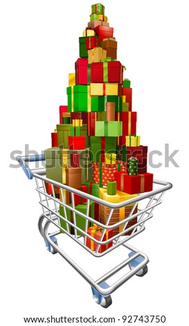 A shopping trolley cart with huge amount of gifts or presents stacked in it