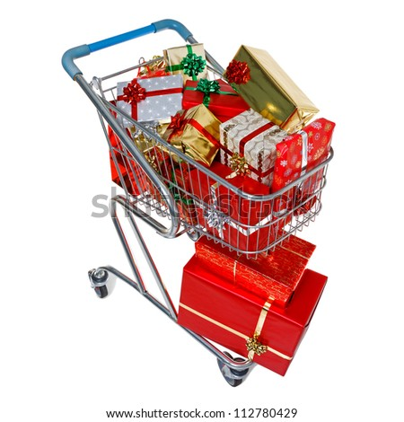 A shopping trolley full of gift wrapped Christmas presents, isolated on a white background.