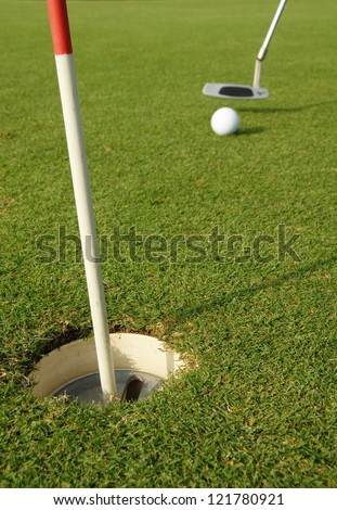 A short put in the game of golf