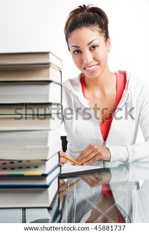 A shot of a beautiful black college student studying