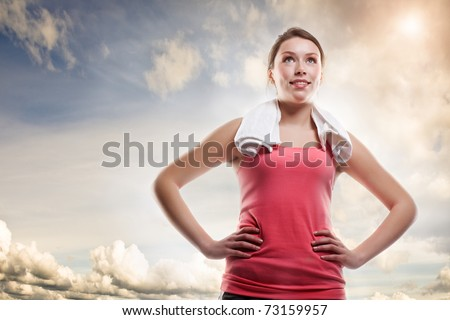 A shot of a beautiful sporty caucasian woman outdoor - stock photo
