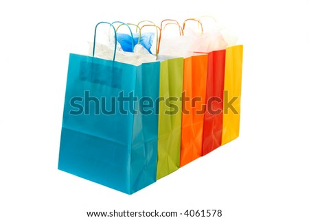 A shot of a bunch of colorful shopping bags - stock photo