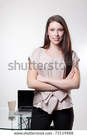 A shot of a caucasian businesswoman in the office - stock photo