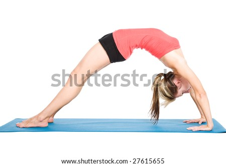 A shot of a caucasian woman practicing yoga