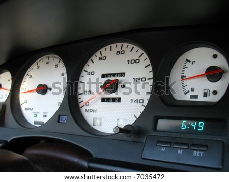A shot of a driver's cockpit from a late model import sports car. - stock photo