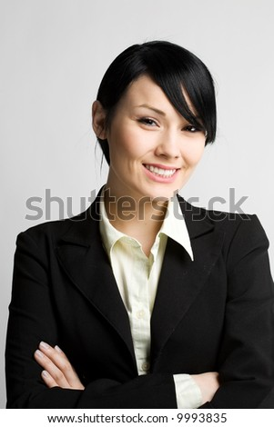 A shot of a happy young businesswoman - stock photo