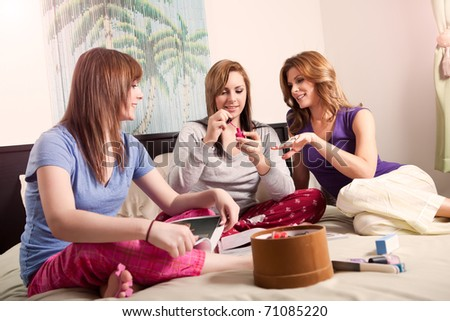 A shot of a mother spending time with her two teenage daughters