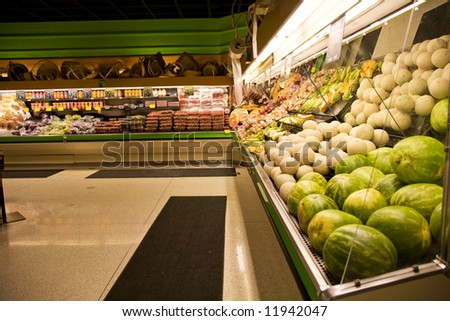 A shot of a produce section in a grocery store or supermarket - stock photo