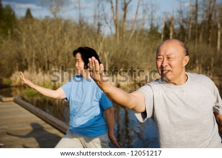 A shot of a senior asian couple practicing tai-chi exercise - stock photo