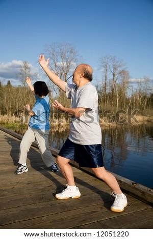A shot of a senior asian couple practicing taichi exercise - stock photo