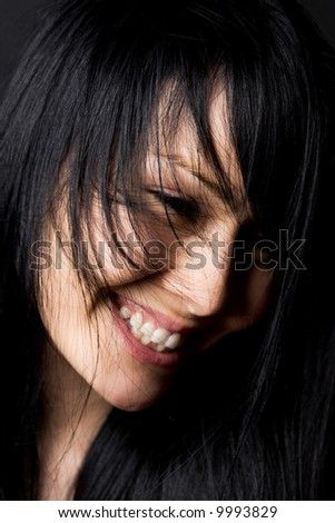 A shot of a smiling happy beautiful woman - stock photo