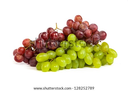 A shot of a White and Red Grapes, laying and isolated on white. - stock photo