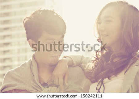 A shot of a young couple dating outdoor  - stock photo