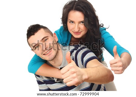 A shot of a young happy couple on white - stock photo