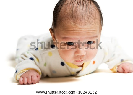 A shot of an adorable asian baby boy - stock photo