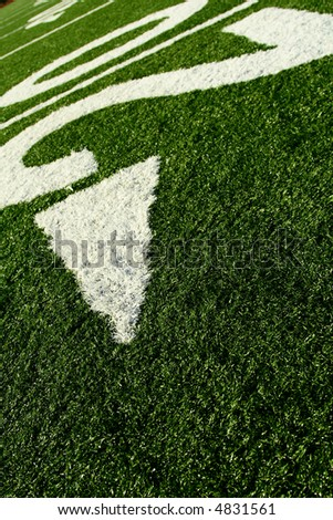 A shot of an american football field - stock photo