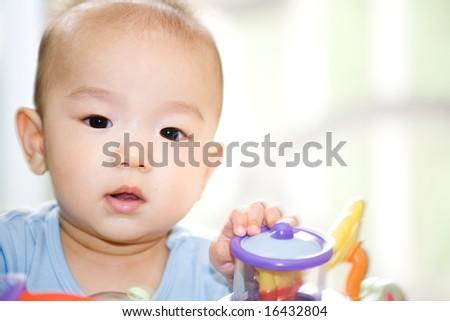 A shot of an asian baby boy - stock photo