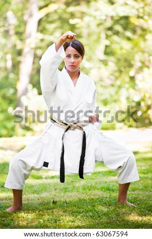 A shot of an asian woman practicing karate - stock photo