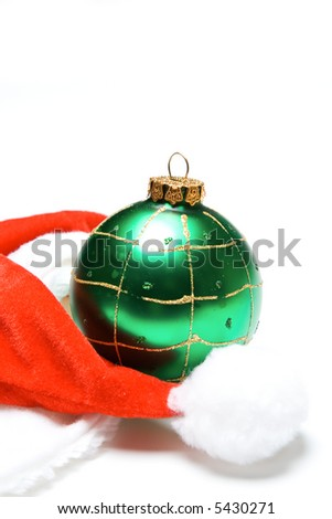 A shot of christmas hat and christmas ornament