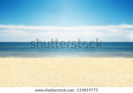 A shot of clear empty beautiful beach. - stock photo