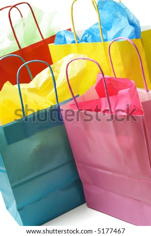 A shot of colorful shopping bags on white - stock photo