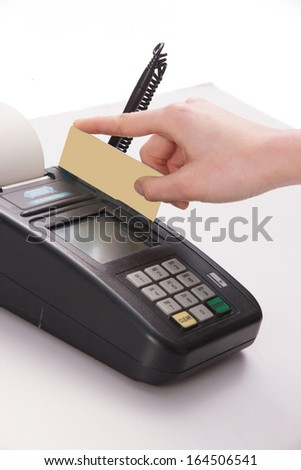 A shot of Credit card and POS machine - stock photo