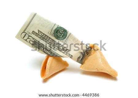 A shot of fortune cookie containing money - stock photo