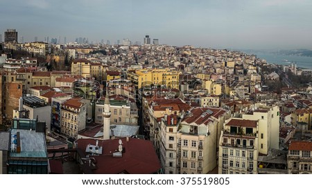 A shot of Istanbul city from high view point showing the highly populated area.