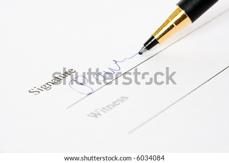 A shot of of a document signing - stock photo