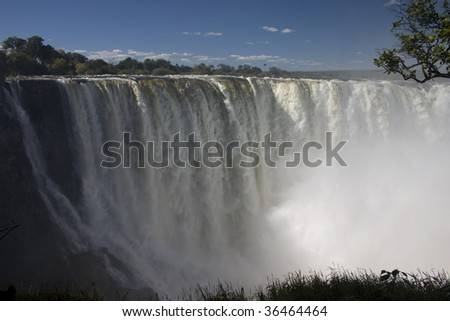 A shot of one of the falls at Victoria Falls, Zambia and Zimbabwe - stock photo