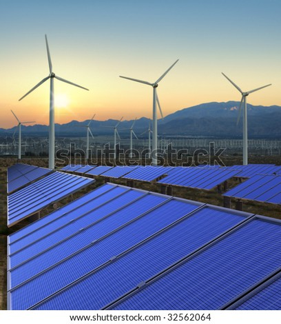 A shot of solar and wind power - stock photo
