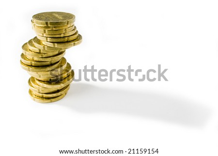 A shot of some coins isolated on white - stock photo