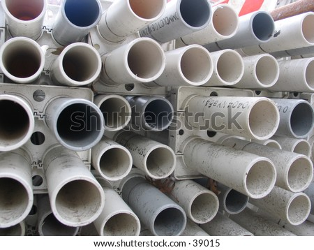 a shot of some pvc pipes at a low angle