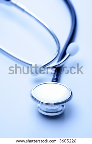 A shot of stethoscope in blue tone